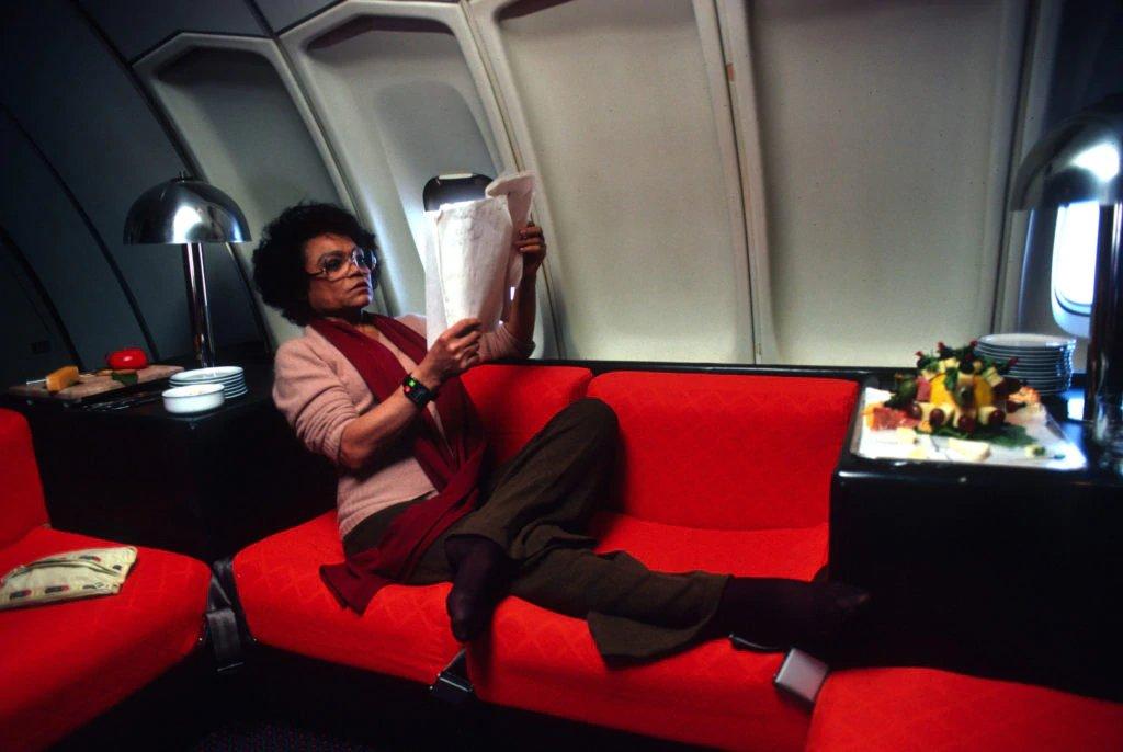 Eartha Kitt, flying first class,1970s
