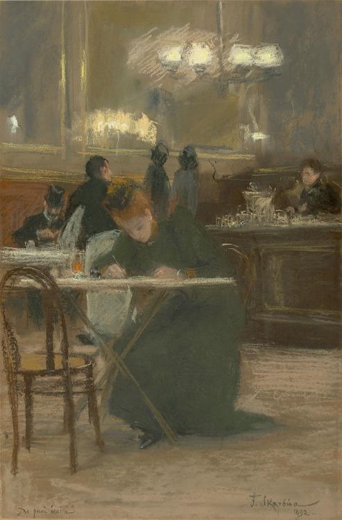 "German artist Franz Skarbina's ""De Quoi Ecrire"",1892"