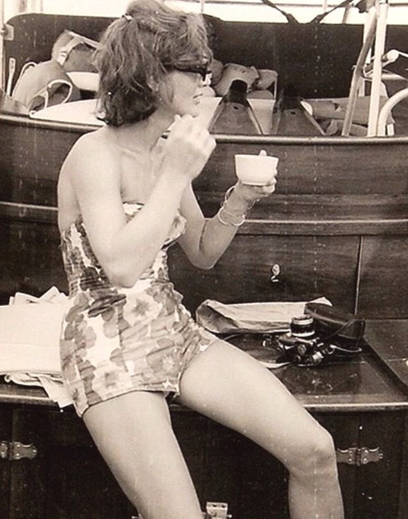 First Lady Jacqueline Kennedy on vacation on a boat off Italy, 1962
