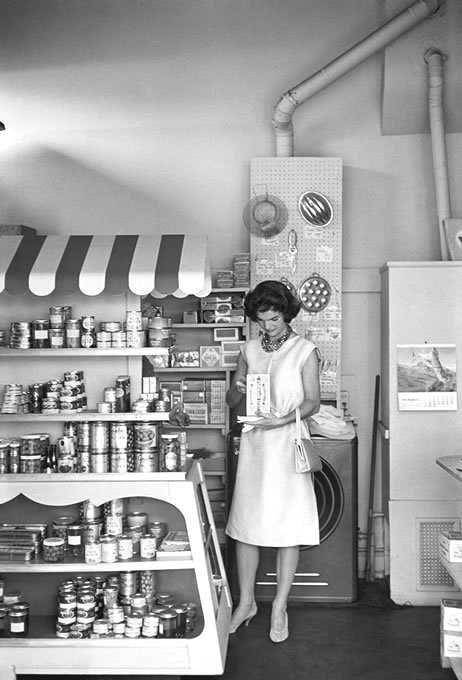 Jacqueline Kennedy doing a photo shoot at a supermarket, Washington DC, 1959