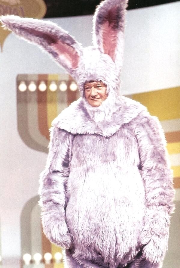 "John Wayne dressed as a purple Easter Bunny on ""Laugh In"", 1972"