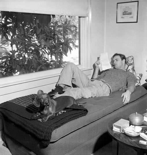 Marlon Brando laying about at home