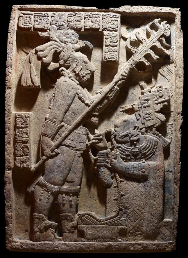 Ancient Mayan art: King Shield Jaguar II and his wife LadyXoc