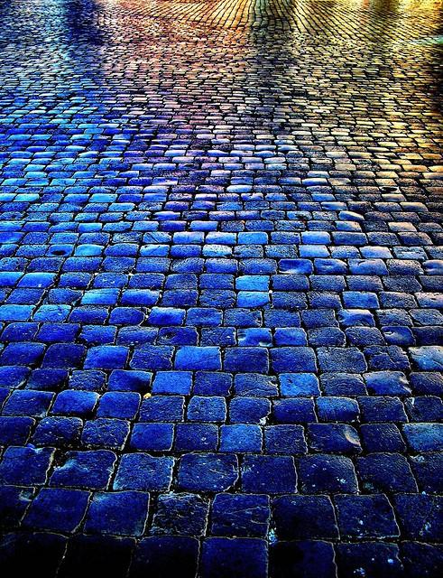 Wet cobblestones atdusk