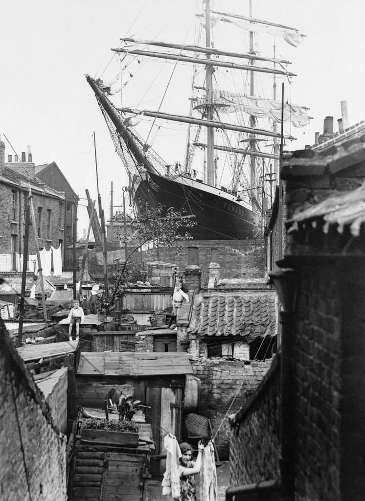 Sailing vessel in dry dock, London, 1932