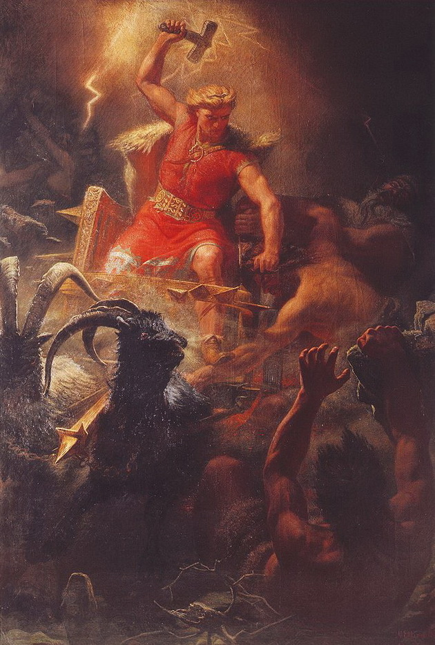 Norse god Thor battling with the giants