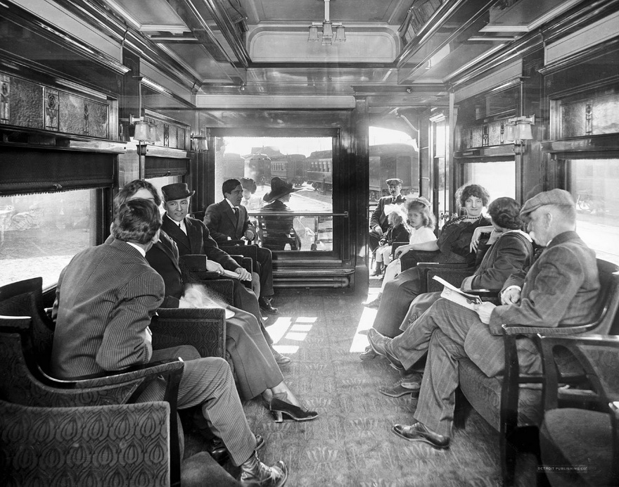 Observation car on an old train,1910s