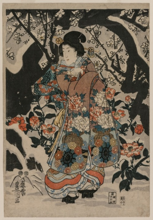"""Woman Standing Beside a Plum Tree"", by Utagawa Kunisada, Japan, c.1850"