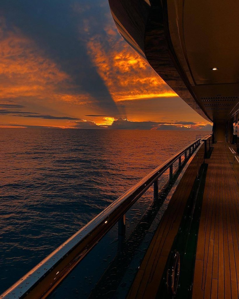 Sunset view from a privateyacht