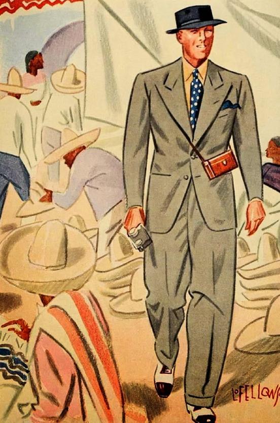 American tourist in Mexico, men's fashion illustration by L. Fellows for Esquire magazine,1930s