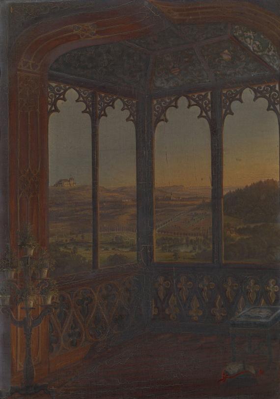 """""""A View of Coburg from a Window of Schloss Callenberg""""by Ferdinand Zschäck,1843"""