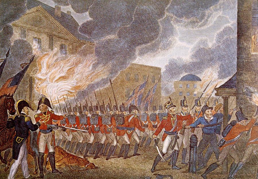British army ransacking Washington DC,1812