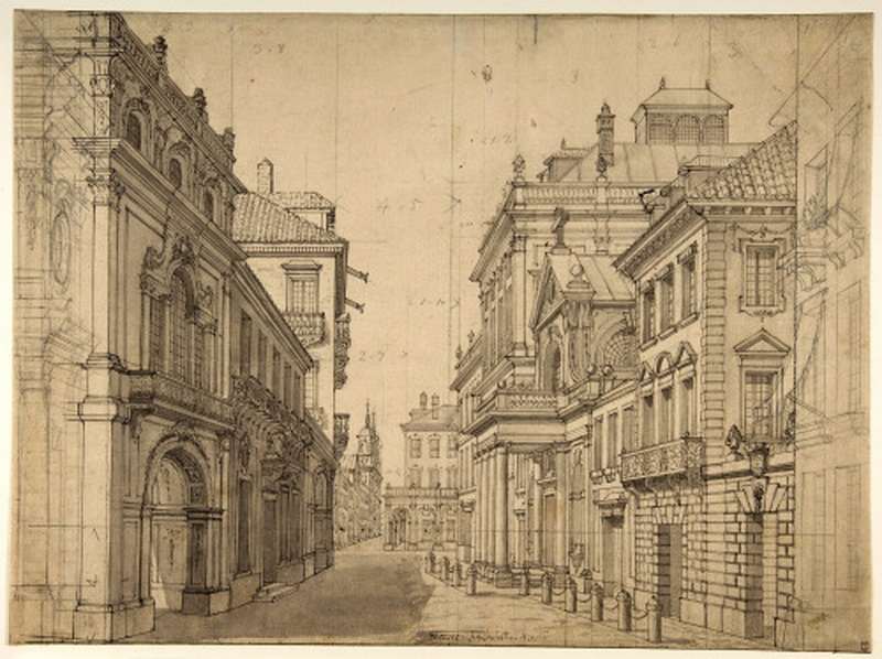 Design for a theatre stage set of an Italiancityscape