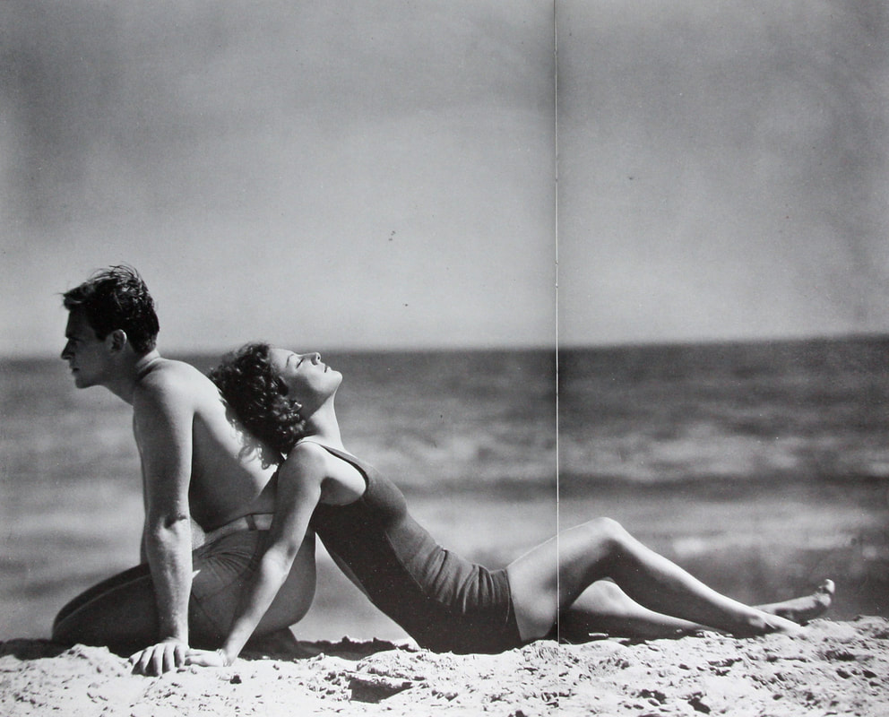 Douglas Fairbanks Jr. and Joan Crawford at the beach, early 1930s
