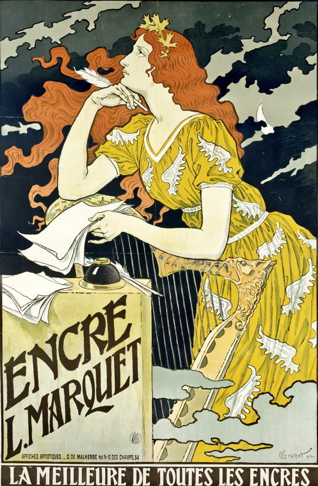 Advertisement for ink, France,1890s