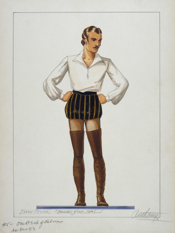 "Costume sketch for Errol Flynn in ""Sea Hawk"" – this one was, sadly, notused"