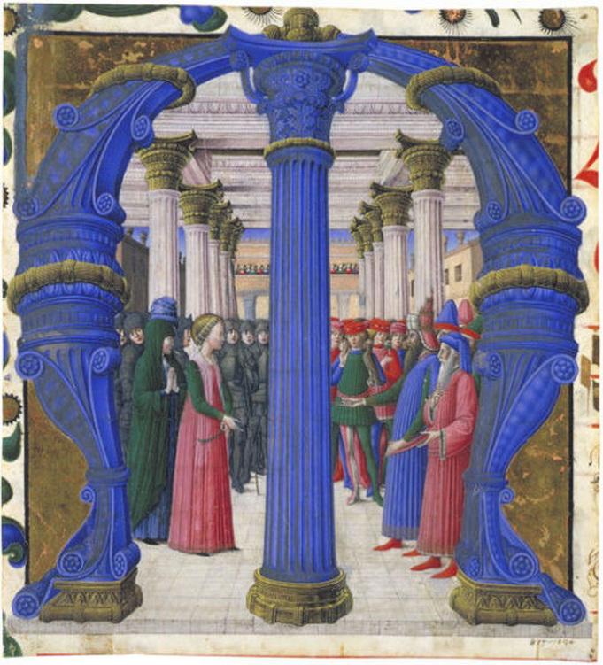 """Saint Giustina disputing with Maximian"" by Girolamo da Cremona, manuscript illustration,1462"