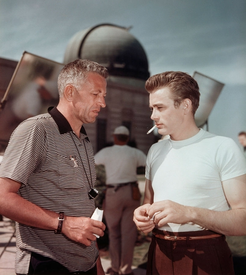 """James Dean and director Nicholas Ray on the set of """"Rebel Without aCause"""""""