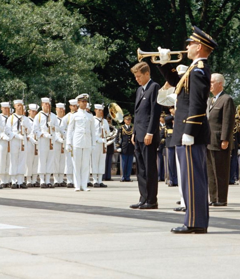 President John F. Kennedy taking a moment of silence at the Tomb of the Unknown Soldier, Arlington NationalCemetary