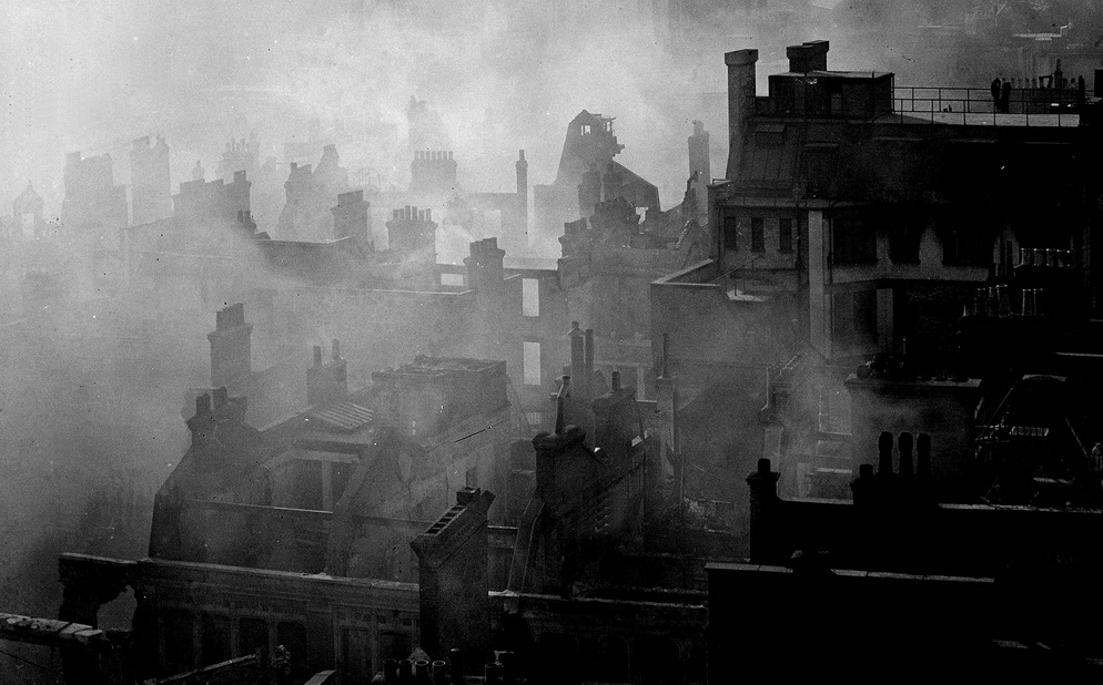 The destruction of London by the Nazis during the Blitz, WWII, early1940s