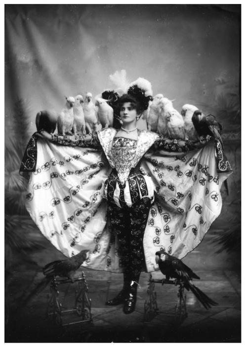 Madame Marzella and her trained parrots, Sydney, Australia,1890s
