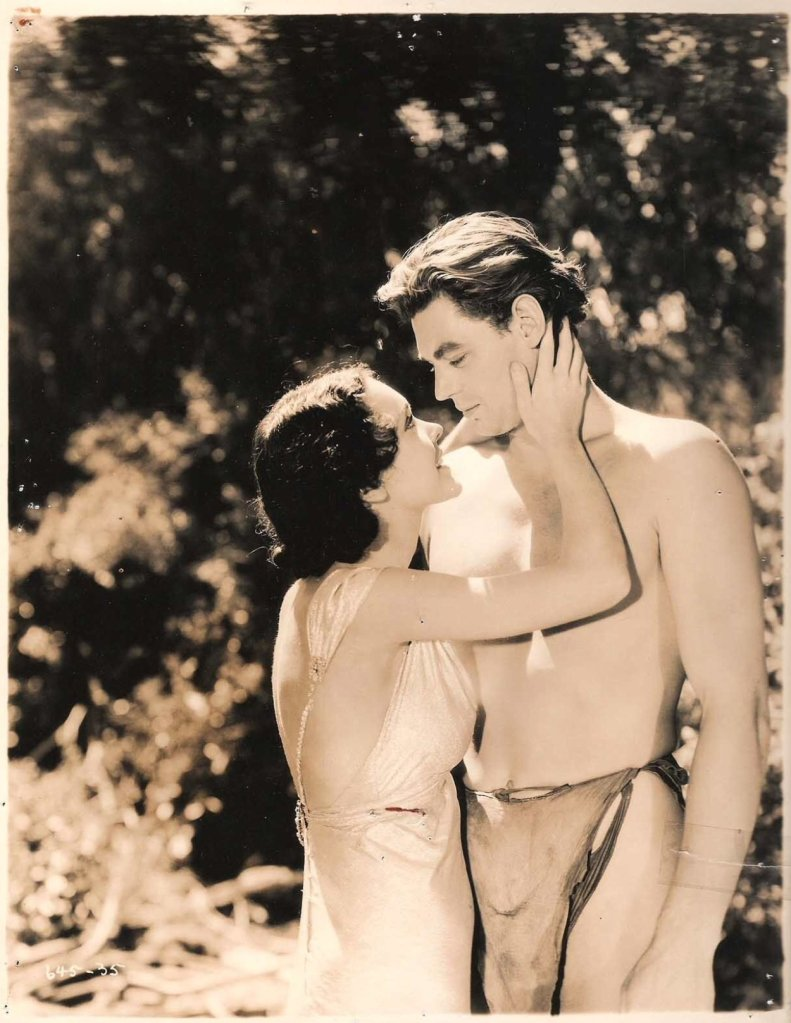"""Maureen O'Sullivan and Johnny Weismuller in """"Tarzan and His Mate"""",1934"""