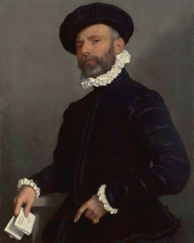 """""""Portrait of a Man Holding a Letter"""" by Giovanni Battista Moroni,1500s"""