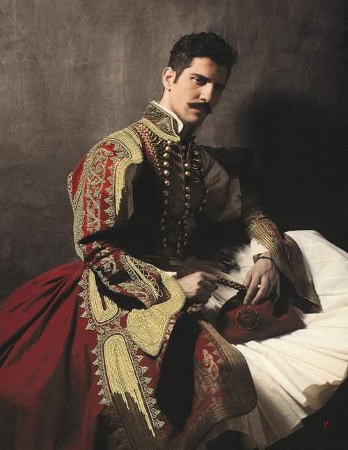 Anatoli Georgiev wearing traditional Greek attire from the1820s