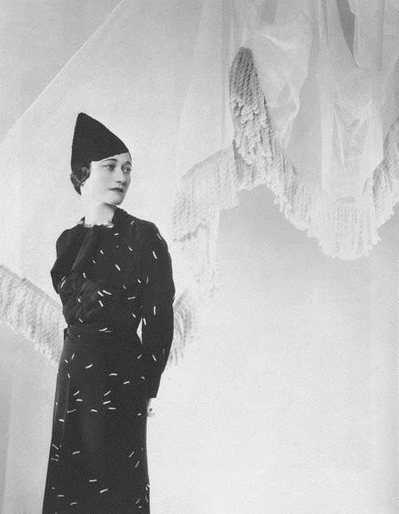 Wallis Simpson (Duchess of Windsor) in a  Schiaparelli dress, photo by Cecil Beaton, 1930s