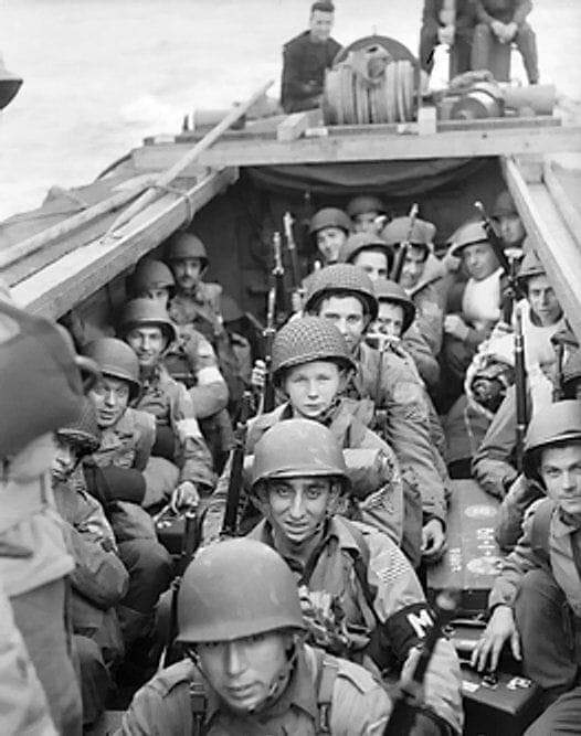 US Soldiers being transported to battle,WWII