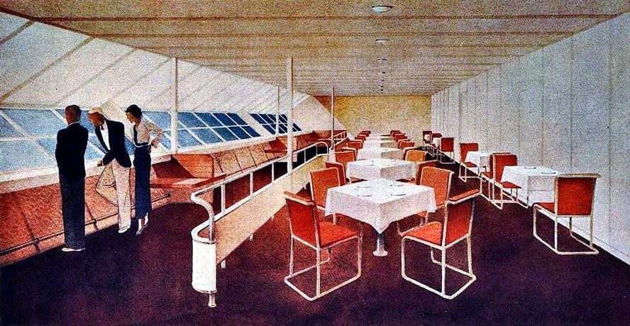 Dining room in a German zeppelin, circa1930