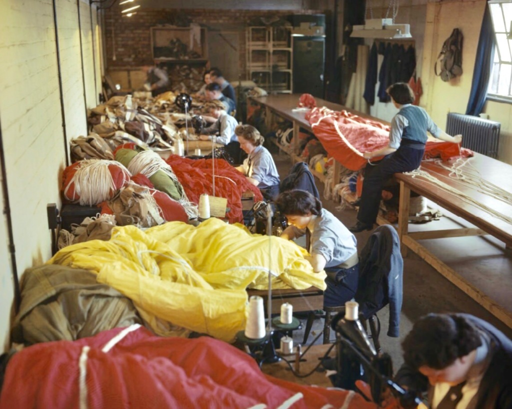 British women sewing parachutes for paratroopers to be used on D-Day,1944