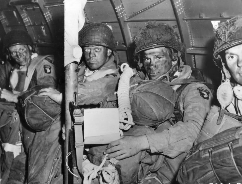 Allied paratroopers getting ready to invade France on D-Day,1944