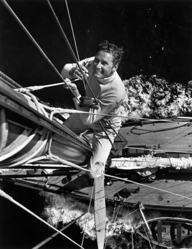 Errol Flynn on his yacht,1930s