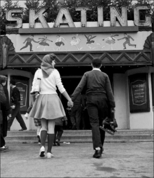 Ice skating date night,1950s