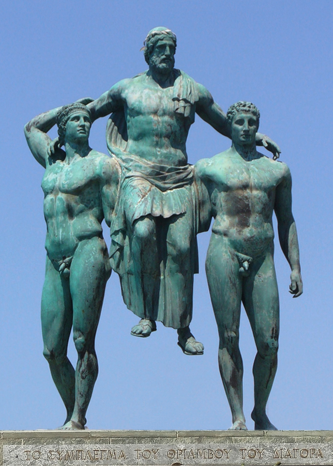 Diagoras of Rhodes carried in triumph by hissons