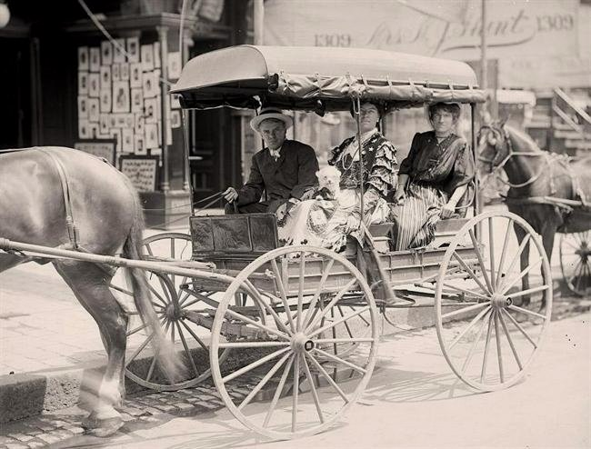Taking the wagon into town for some shopping,1800s
