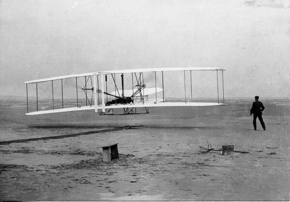 First flight: The Wright Brothers at Kitty Hawk Beach, North Carolina,1906