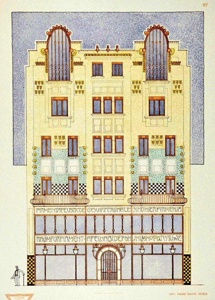 Design for an art nouveau building inVienna