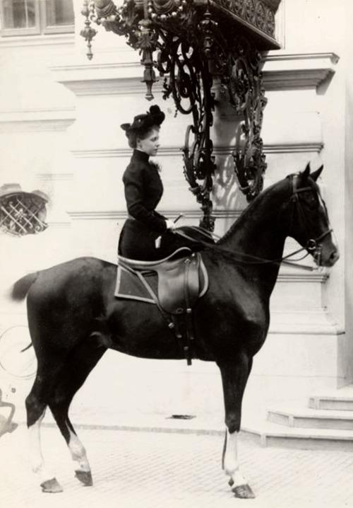 Crown Princess Marie of Romania on horseback,1890s