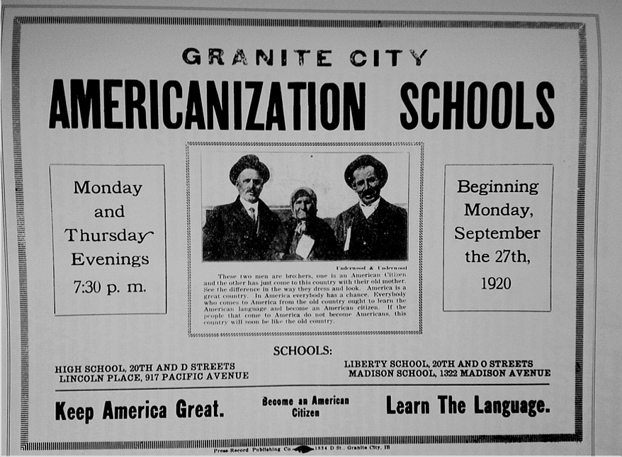 Americanization Schools for new immigrants to the US,1920