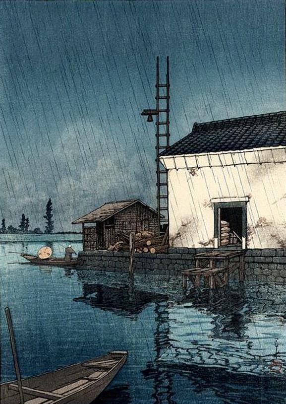 "Japanese Art: Hasui Kawase – ""Rain atUshibori"""