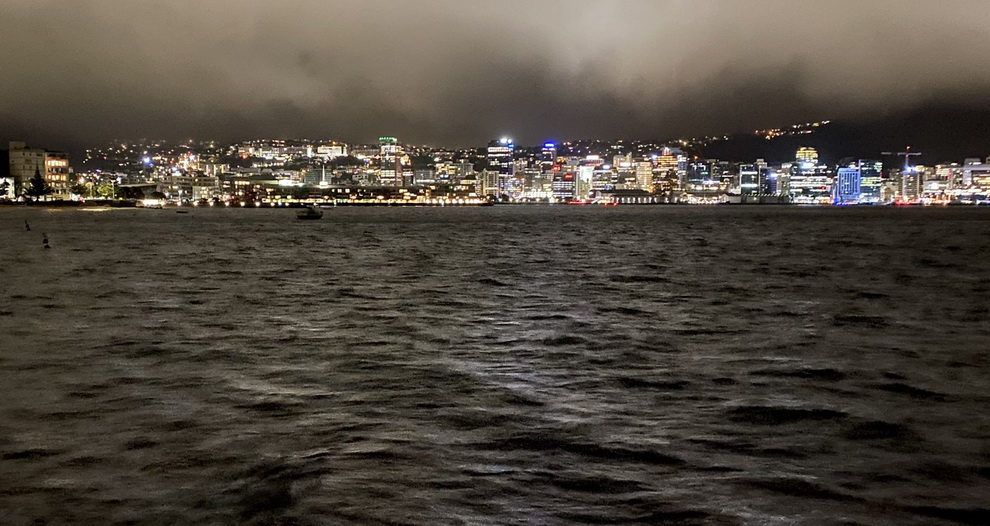 Wellington, New Zealand, on a dark and rainynight