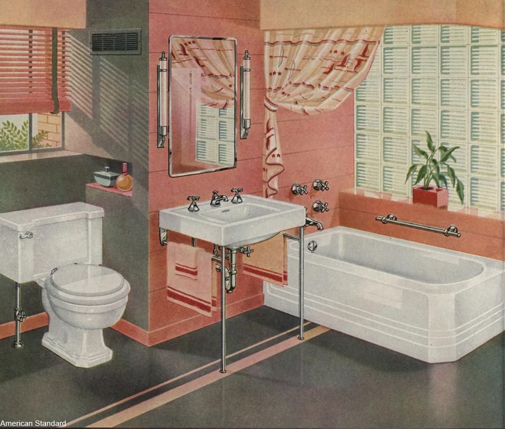 Pink bathroom, 1940s