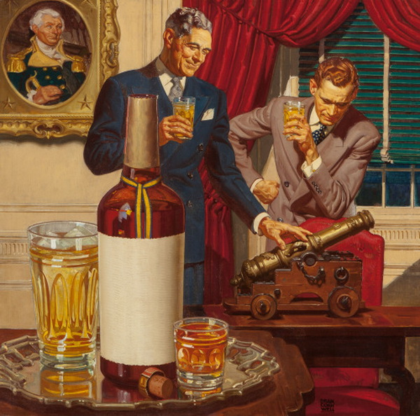 Some guys having strong drinks and playing with a phallus, from a 1930s scotchad