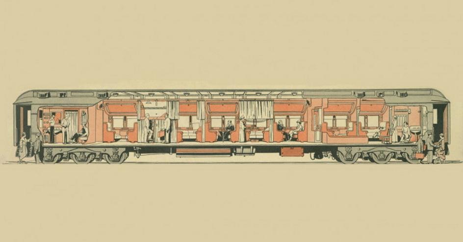 Cross section of a Pullman traincar