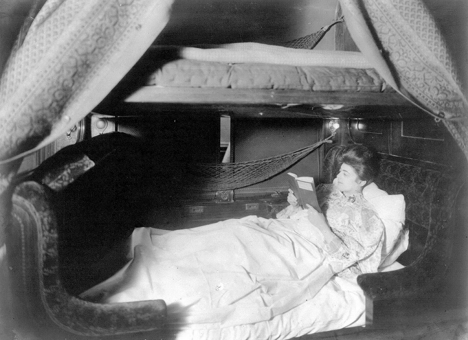 Get comfortable with a book in a Pullman sleeper car,1800s