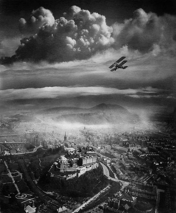 Flying high over Edinburgh, Scotland by Alfred Beckham,1920