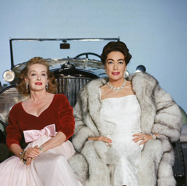 """Bette Davis and Joan Crawford in a promo shot for """"Whatever Happened to Baby Jane?"""",1962"""