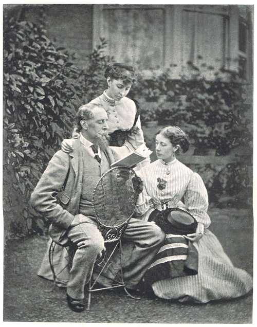 British writer Charles Dickens reading to his daughters,1800s